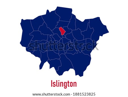 London Borough of  Islington map. The map is colored with the colours of the United Kingdom flag. The vector map is appropriate for prints of all sizes. An isolated map on white background. Сток-фото ©