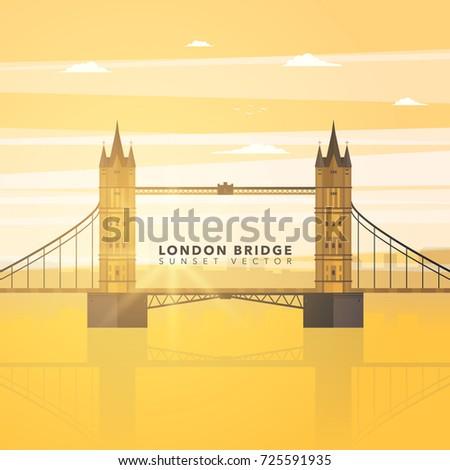 london bridge flat design vector