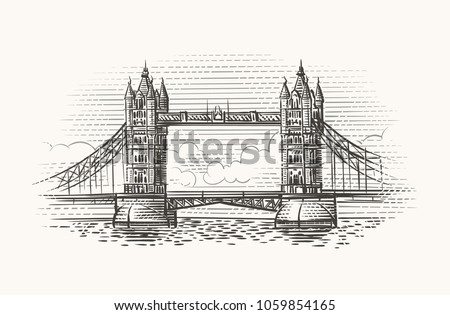 London Bridge hand drawn illustration. Vector.