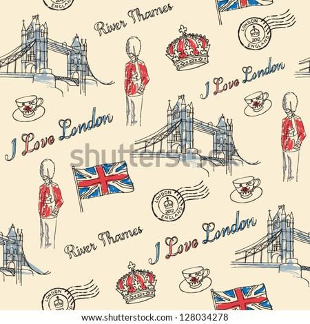 London bridge london icons seamless pattern