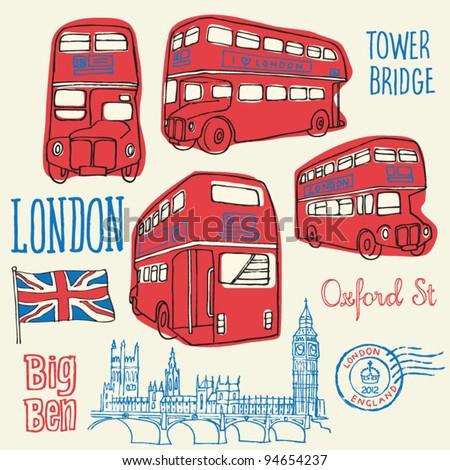 London bus doodle vector