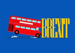 London city bus crashing with brexit word. Brexit concept