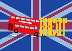 London city bus crashing with brexit word on united kingdom flag background. Brexit concept