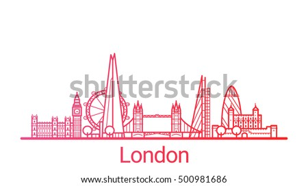 London city colored gradient line. All London buildings - customizable objects with opacity mask, so you can simple change composition and background fill. Line art. Stok fotoğraf ©