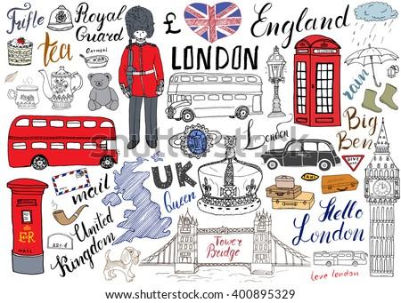 london city doodles elements