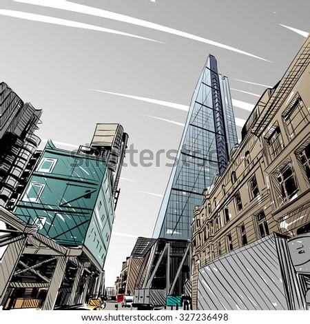 london city hand drawn street