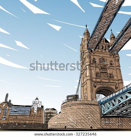london city hand drawn  vector
