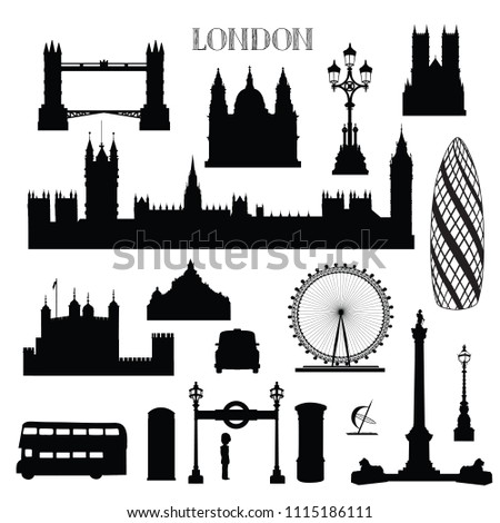London city icon set. England landmark silhouette with lettering over white background. Travel famous places architecure