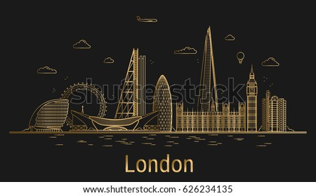 london city line art  golden