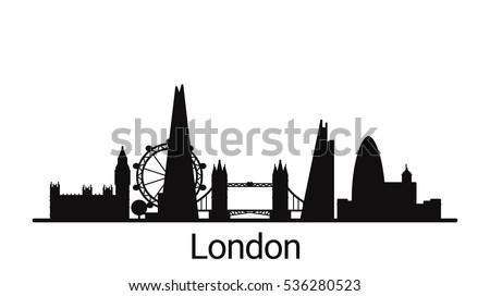 London city outline skyline. All London buildings - customizable objects, so you can simple change skyline composition. Minimal design. Stok fotoğraf ©