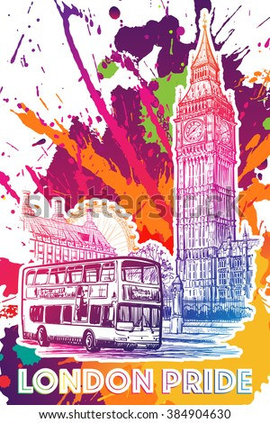 london city scape sketch with