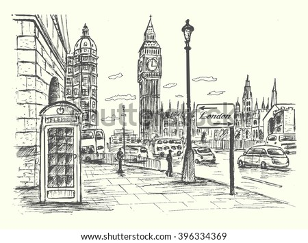 london city scene with big ben
