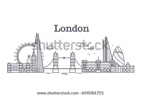 london city skyline with famous
