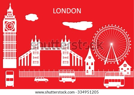 London city vector skyline in style of paper cut.