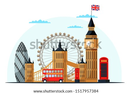 London cityscape flat vector illustration. Great Britain tourist attractions cliparts. World famous UK architectural landmarks. England sightseeing tour
