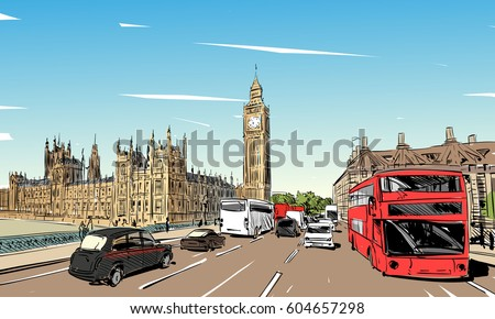 london cityscape hand drawn