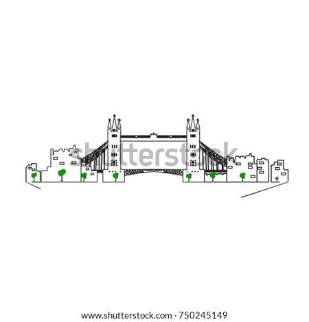London cityscape isolated on white background, Vector illustration