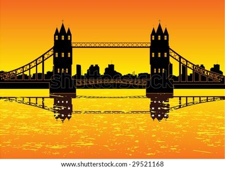 stock vector : London cityscape with bridge vector