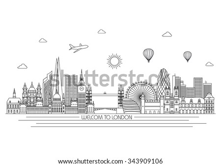 london detailed skyline travel