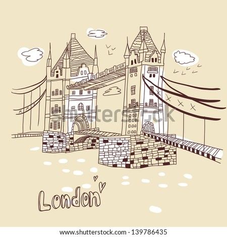 london doodles drawing landscape