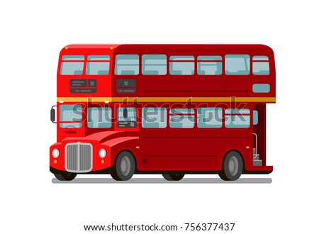 London double-decker red bus. England symbol. Vector flat illustration