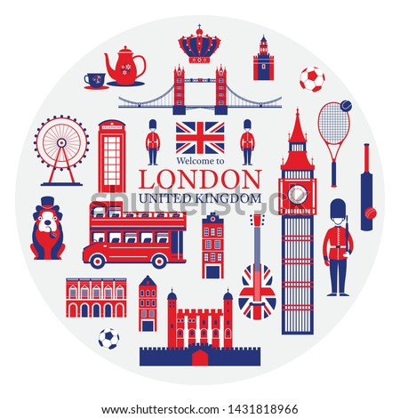 London, England and United Kingdom Tourist Attractions Label, Famous Place, Travel Destinations and Objects