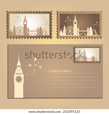 London, England, Postcard and Stamp City Skyline, vector Illustration