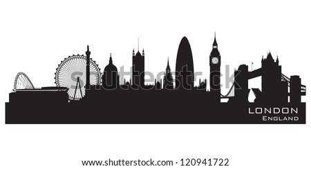 London, England skyline. Detailed silhouette. Vector illustration