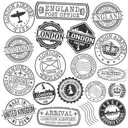 London England Stamp Vector Art Postal Passport Travel Design Set