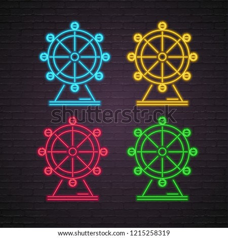 London Eye Giant Ferris Wheel Icon Neon Light Glowing Vector Different Color Version