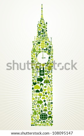London go green. Eco friendly icon set in Big Ben clock building shape illustration background. Vector file layered for easy manipulation and custom coloring.