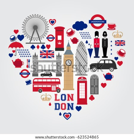 london heart symbols set uk