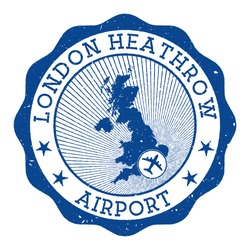 London Heathrow Airport stamp. Airport of London round logo with location on United Kingdom map marked by airplane. Vector illustration.