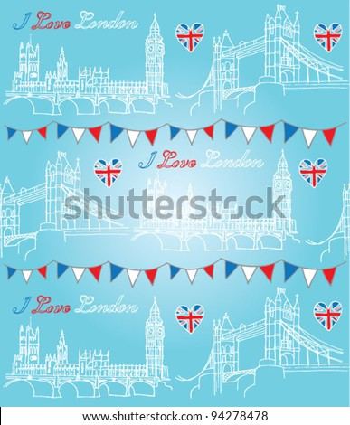 London Houses of Parliament and Tower Bridge seamless background