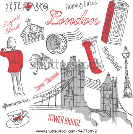 London icons doodles drawing background