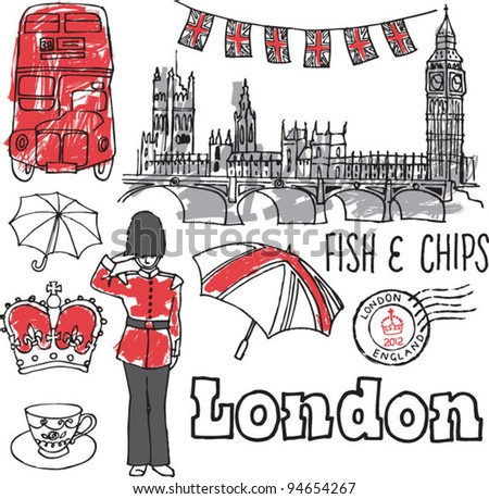 London icons doodles drawing background vector