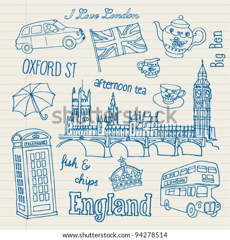 London icons doodles drawing vector