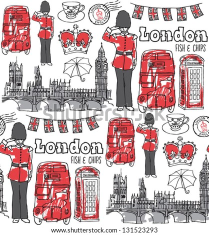 London icons seamless pattern