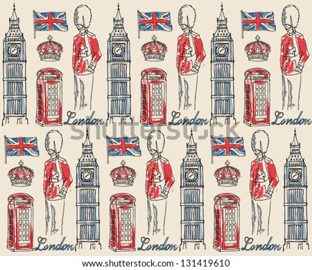 London icons seamless pattern with big ben