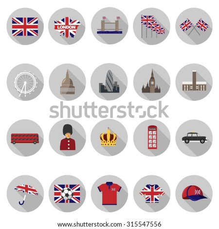london icons set in flat design