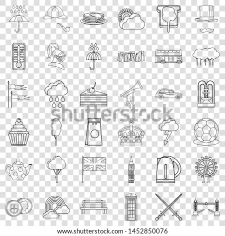 london icons set outline style