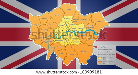 London map with Union Jack flag on background. All London boroughs included. Fully editable vector, data are in layers.