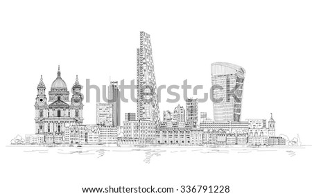 london modern and old  sketch