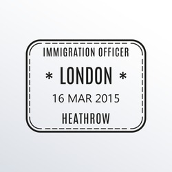 London passport stamp. UK airport visa stamp or immigration sign. Custom control cachet. Vector illustration.