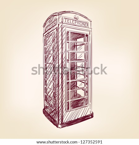 London pay phone  vintage hand drawn vector illustration
