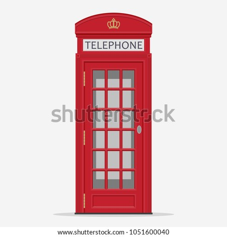 London Phone Booth, Red cabin, English telephone Street box. Symbol of the UK. Vector