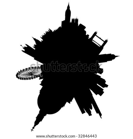 London planet: vector London silhouette skyline