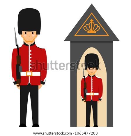 london queen's guard vector