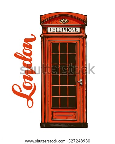 London, red phone booth. Vector illustration