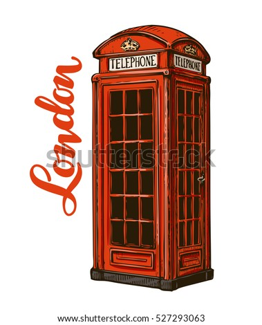 London red phone booth. Vector illustration isolated on white background
